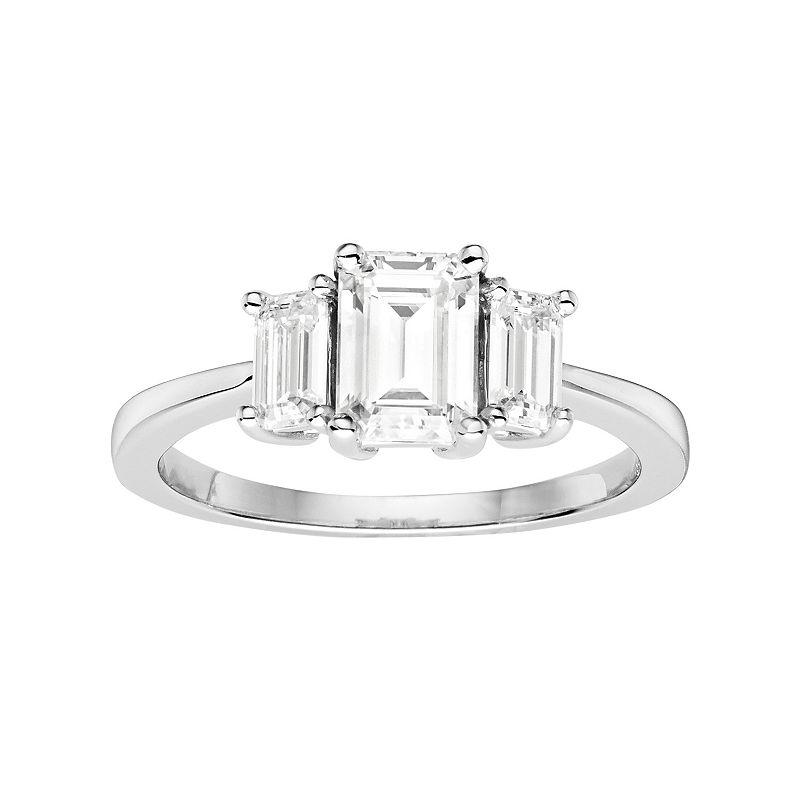 Forever Brilliant 14k White Gold 1 3/8 Carat T.W. Lab-Created Moissanite 3-Stone Engagement Ring