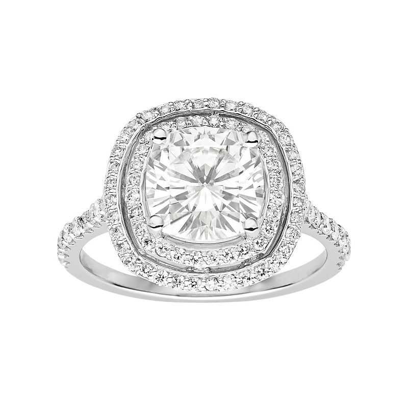 Forever Brilliant 14k White Gold 3 5/8 Carat T.W. Lab-Created Moissanite Tiered Halo Engagement Ring