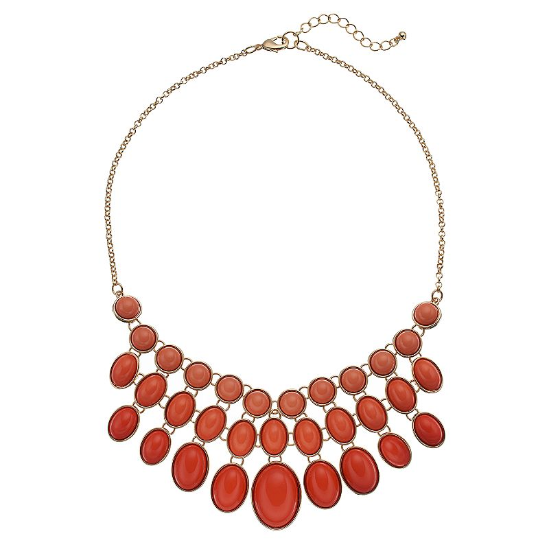 Pink Circle & Oval Cabochon Bib Necklace