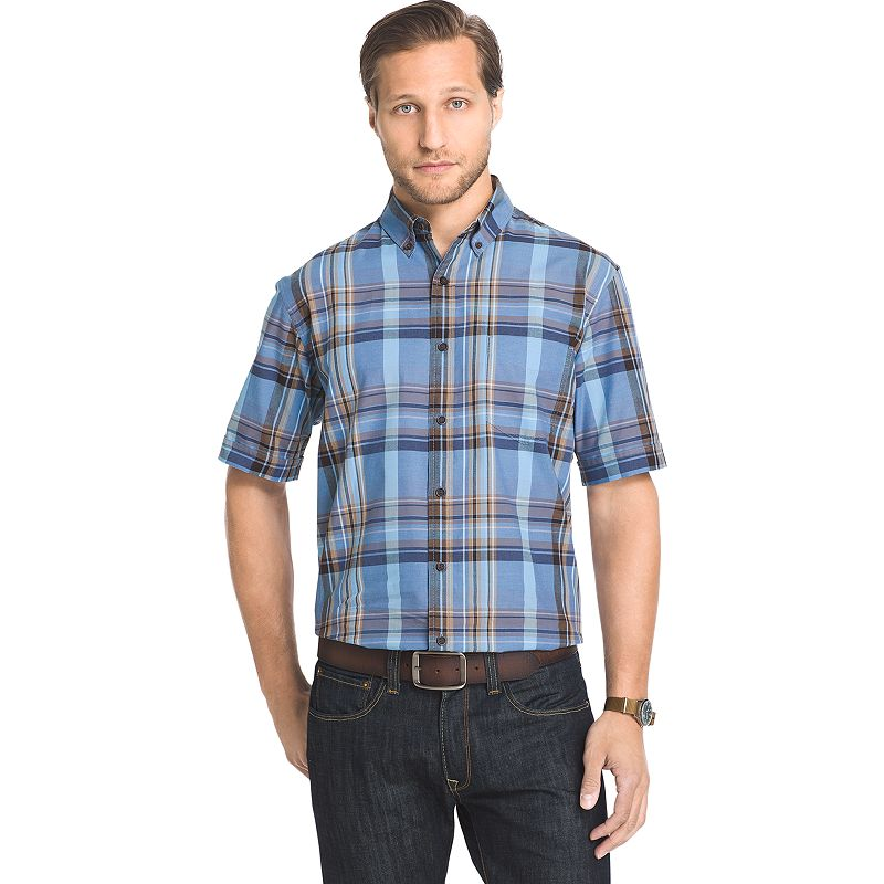 Men's Arrow Classic-Fit Madras Plaid Button-Down Shirt