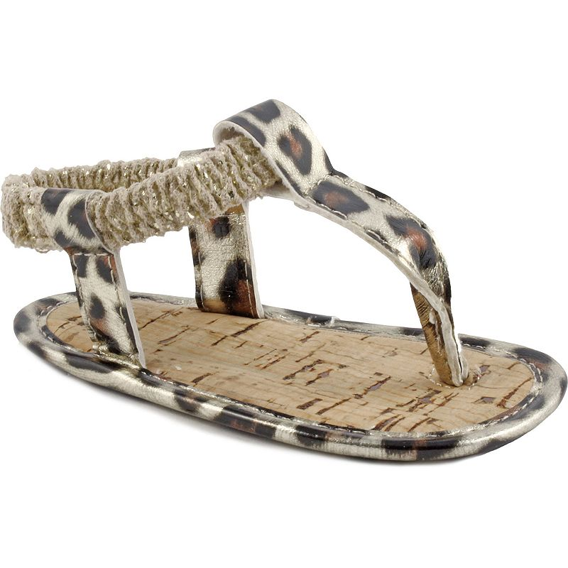 Baby Girl Wee Kids Leopard Thong Crib Sandals