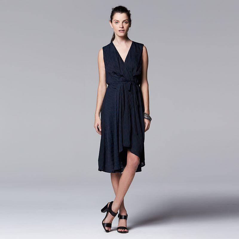 Petite Simply Vera Vera Wang Draped High-Low Hem Dress
