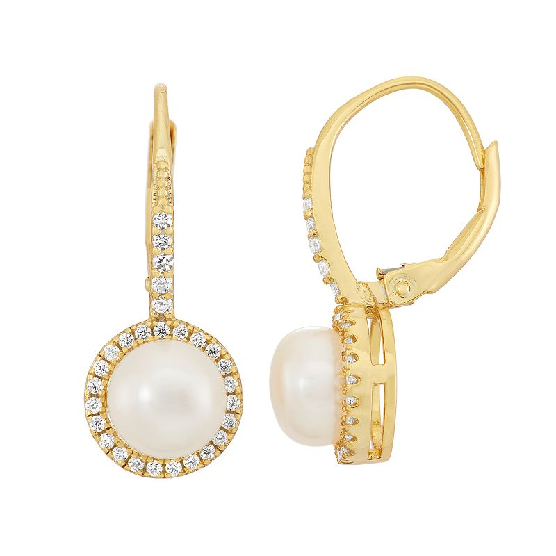 14k Gold Over Silver Freshwater Cultured Pearl & Cubic Zirconia Halo Drop Earrings