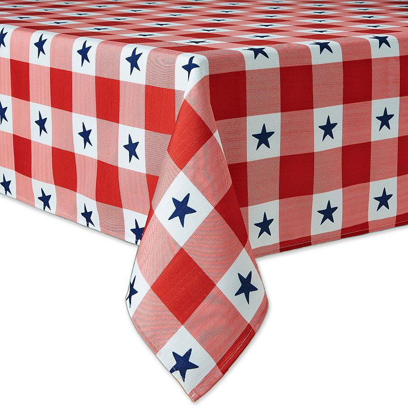 Celebrate Americana Together Stars & Plaid Tablecloth