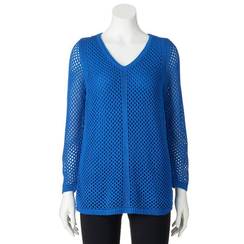 Women's Croft & Barrow® Open-Stitch V-Neck Sweater