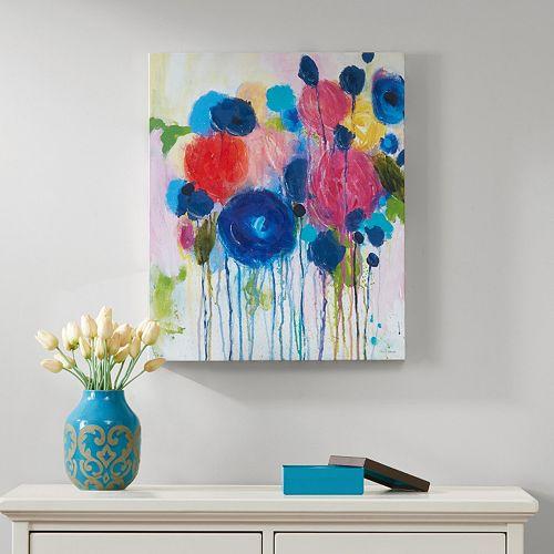 Intelligent design wall art : Intelligent design hearts and flowers canvas wall art