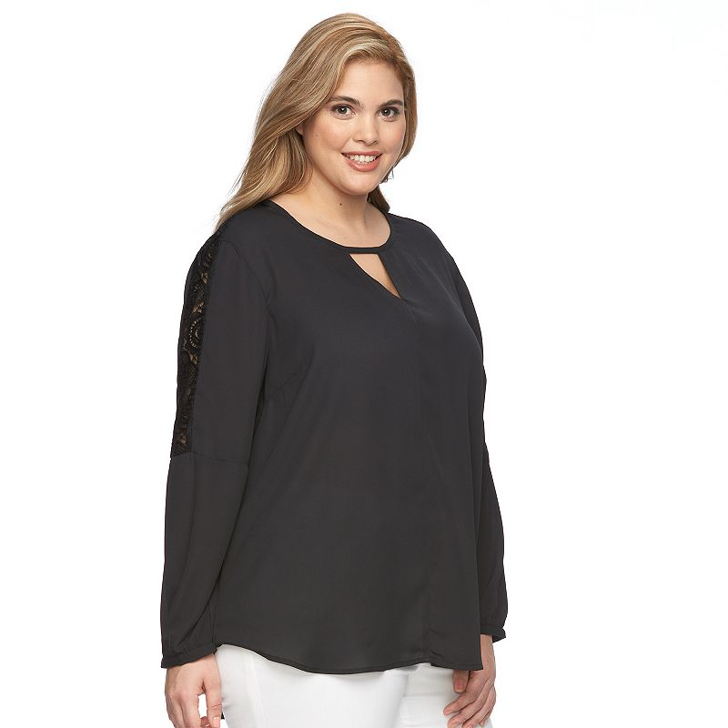 Plus Size Harve Benard Lace-Trim Keyhole Scoopneck Top