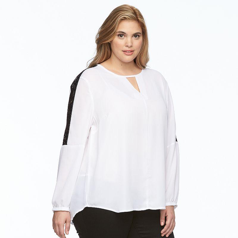Plus Size Harve Benard Lace-Trim Keyhole Scoopneck Top
