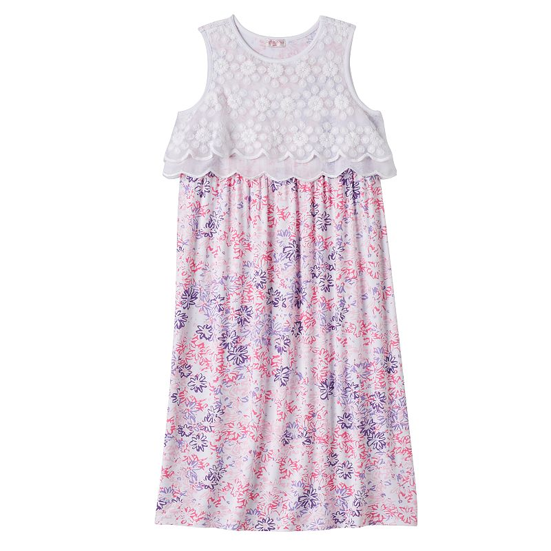 Girls 4-6x Design 365 Lace & Floral Popover Maxi Dress