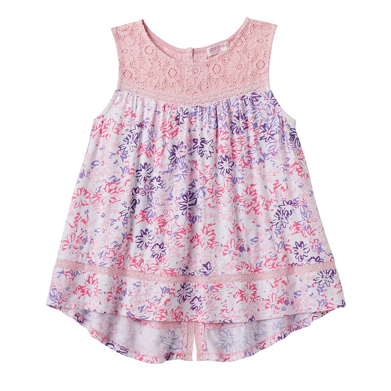 Girls 4-6x Design 365 Crochet Yoke Floral Hi-Low Tank Top