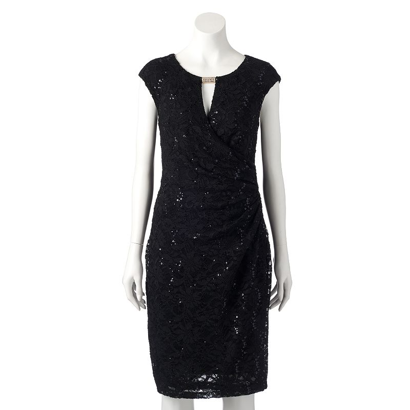 Women's Ronni Nicole Sequin Faux-Wrap Dress