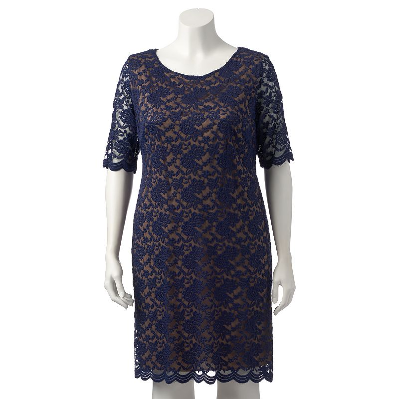 Plus Size Connected Apparel Lace Sheath Dress