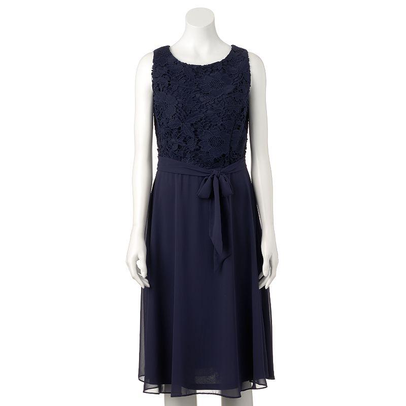 Women's Ronni Nicole Floral Crochet Fit & Flare Dress