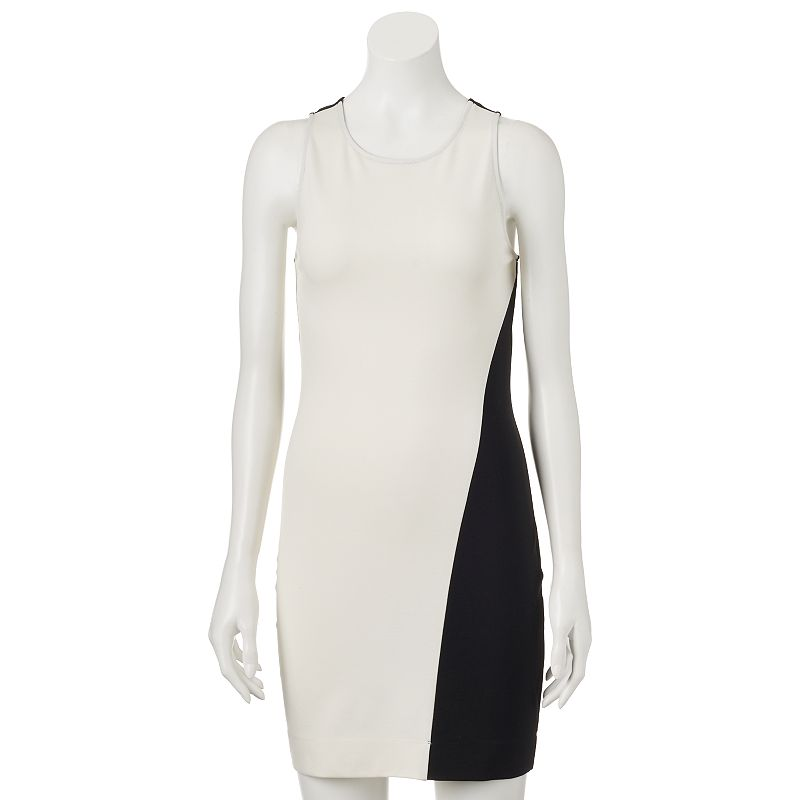 Juniors' Party Of Two Black White Colorblock Dress