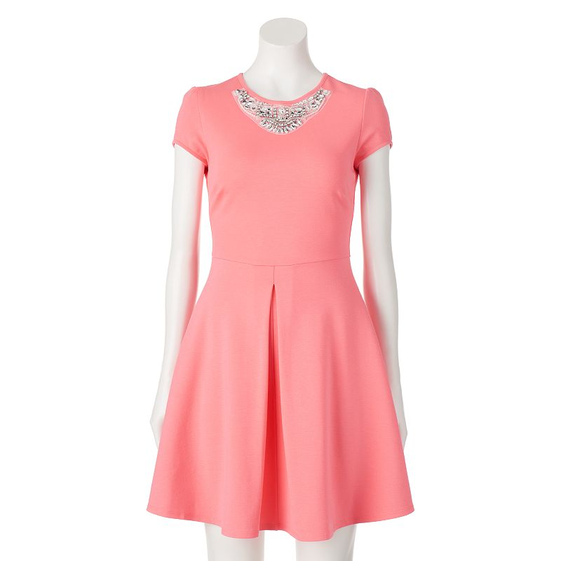 Juniors' Party Of Two Necklace Skater Dress