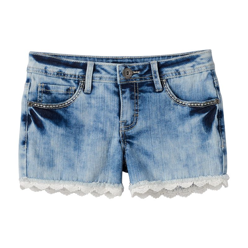 Girls 7-16 & Plus Size Mudd® Eyelet-Trim Denim Shorts