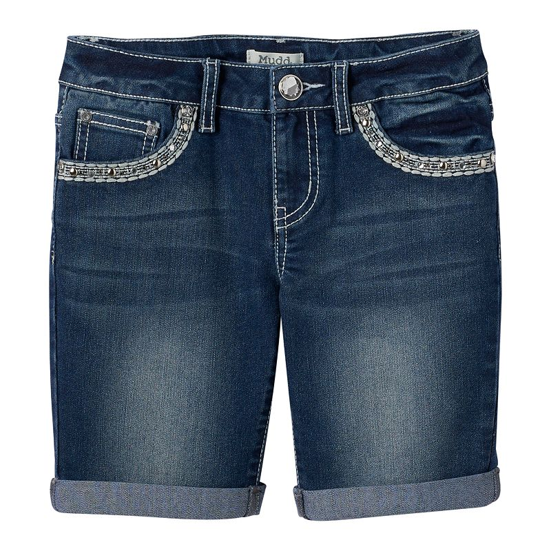 Girls 7-16 & Plus Size Mudd® Embroidered Cuffed Denim Shorts