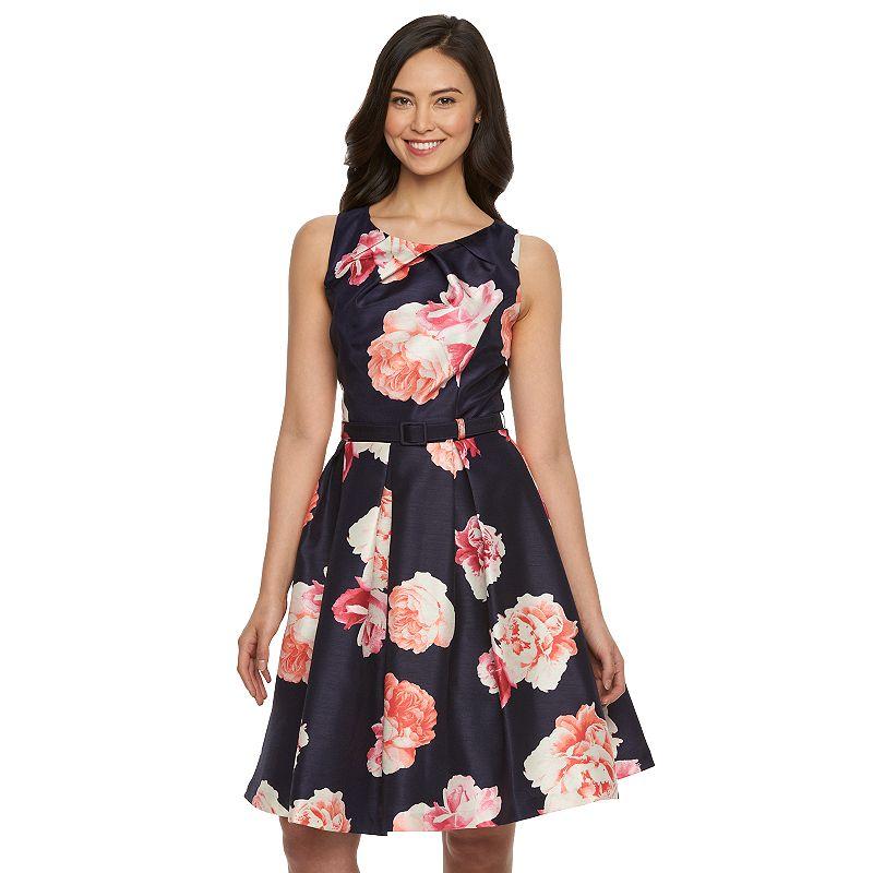 Women's Jessica Howard Floral Fit & Flare Taffeta Dress