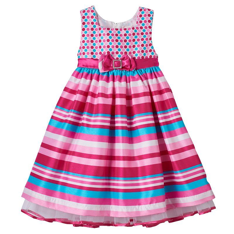 Toddler Girl Nannette Polka-Dot & Stripes Dress