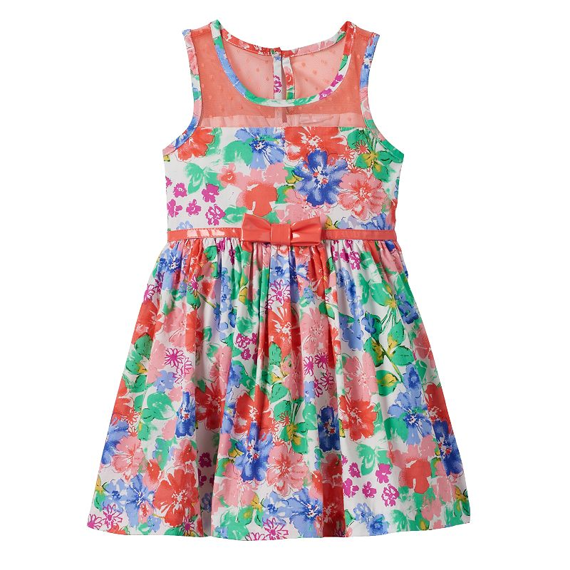 Toddler Girl Nannette Multi-Colored Flower Dress