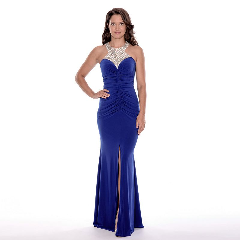 Women's 1 by 8 Embellished Illusion Sweetheart Evening Gown