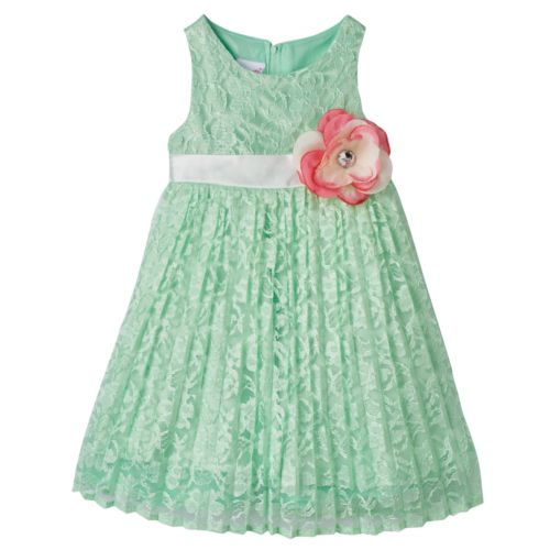 Toddler Girl Nannette Shiny Floral Lace Pleated Dress