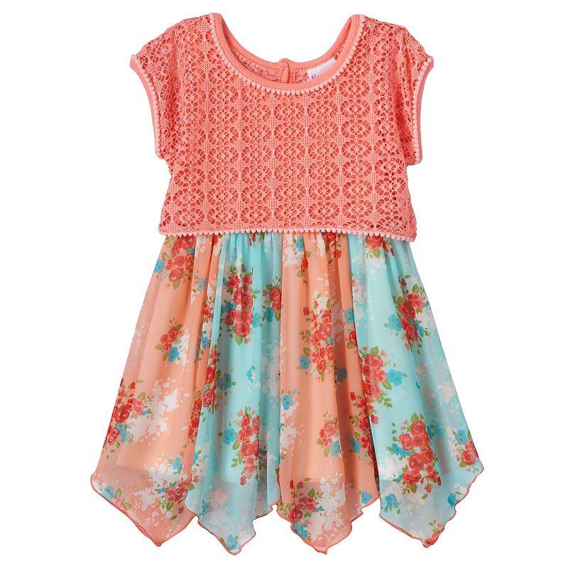 Toddler Girl Nannette Crochet Overlay Hankerchief Dress