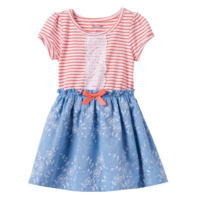 Toddler Girl Nannette Stripe Chambray Dress