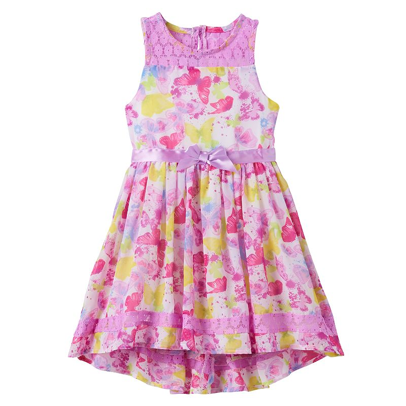 Toddler Girl Nannette Floral Butterfly High-Low Dress