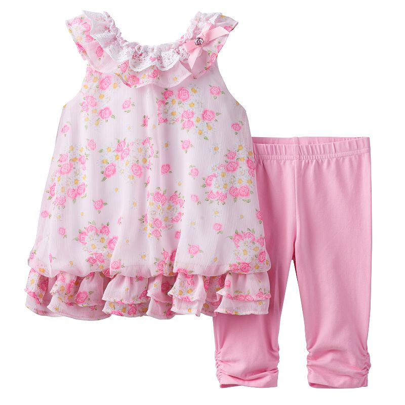 Toddler Girl Nannette Rose Printed Dress & Solid Leggings Set