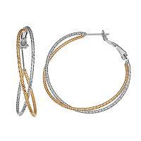 Two Tone 14k Gold-Plated Crisscross Hoop Earrings