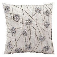 Michael Amini French Knot Flowers Beaded Throw Pillow