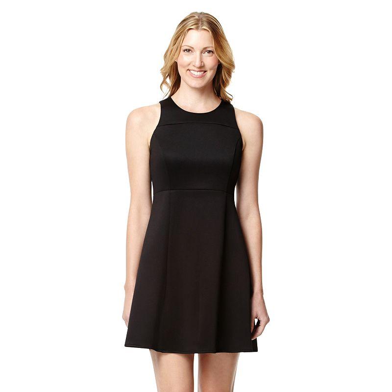Women's Harve Benard Solid Fit & Flare Scuba Dress