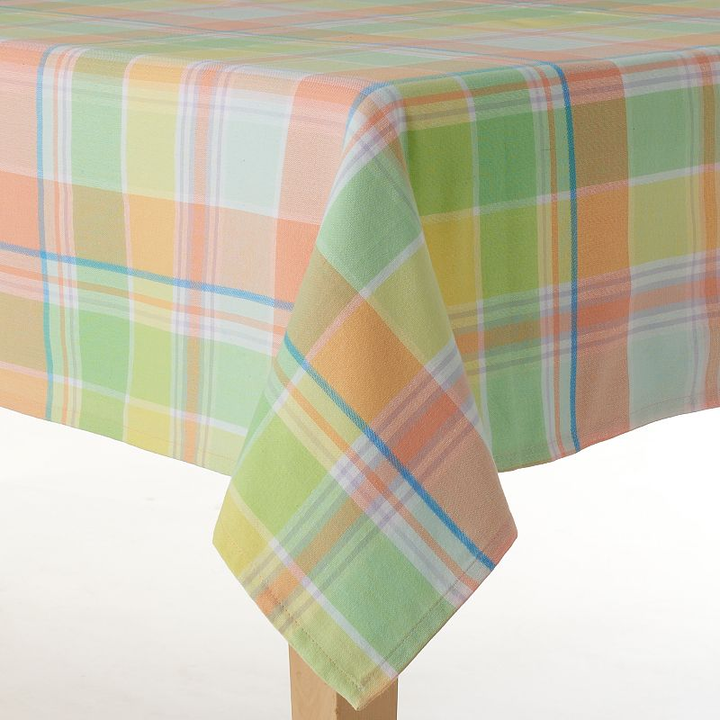 Celebrate Easter Together Woven Plaid Tablecloth