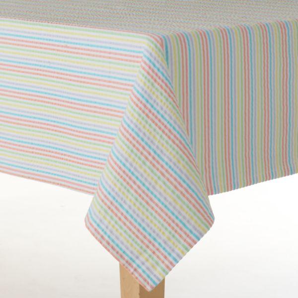 Celebrate Easter Together Seersucker Stripe Tablecloth