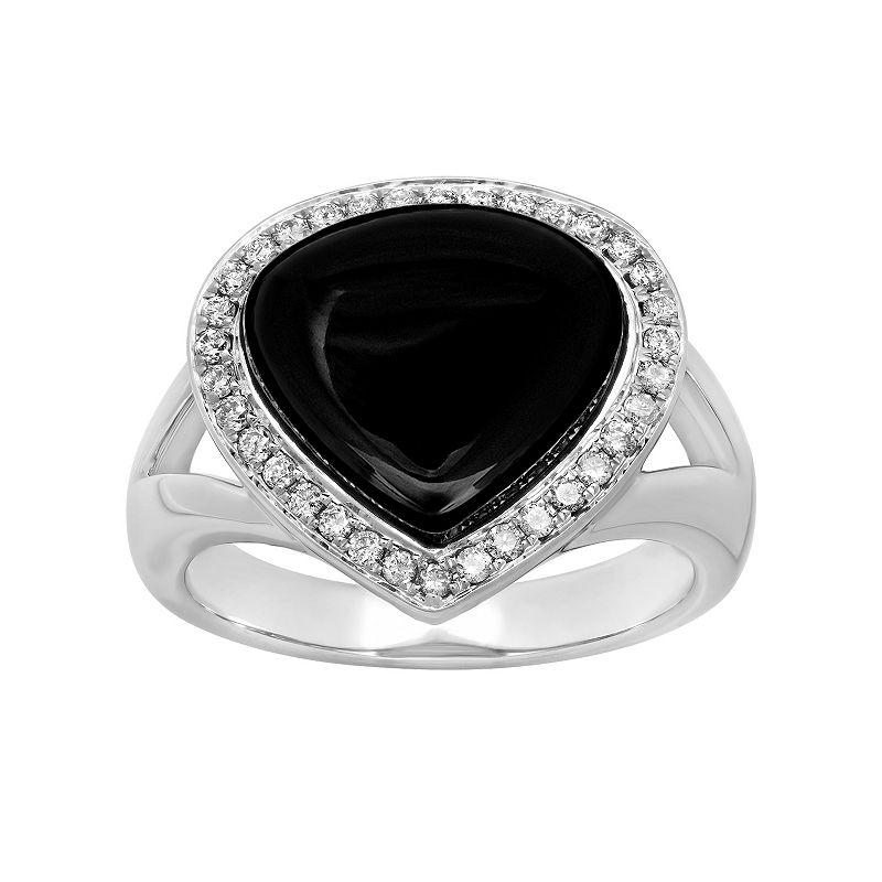 14k White Gold Onyx & 1/4 Carat T.W. Diamond Teardrop Halo Ring