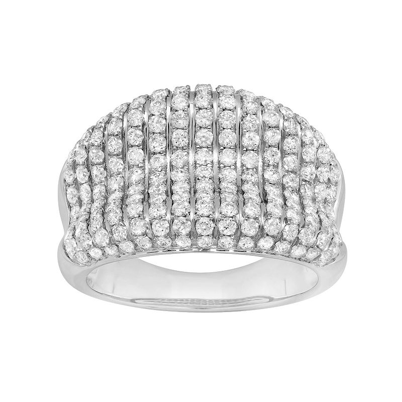 14k White Gold 1 1/2 Carat T.W. Diamond Concave Ring