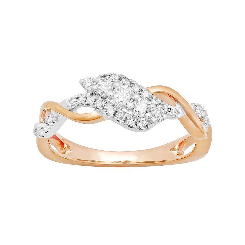 14k Rose Gold 1/3 Carat T.W. Diamond Ring