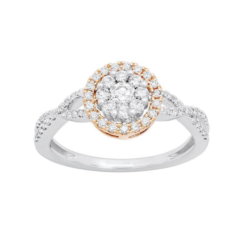 Two Tone 14k Gold 1/2 Carat T.W. Diamond Halo Ring