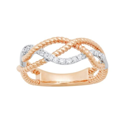 14k Rose Gold 1/6 Carat T.W. Diamond Braided Ring