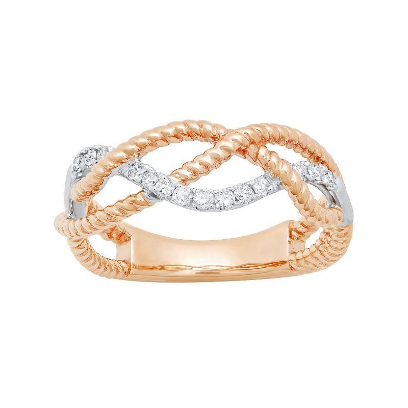 14k Rose Gold 1/6 Carat T.W. Diamond Braided Ring