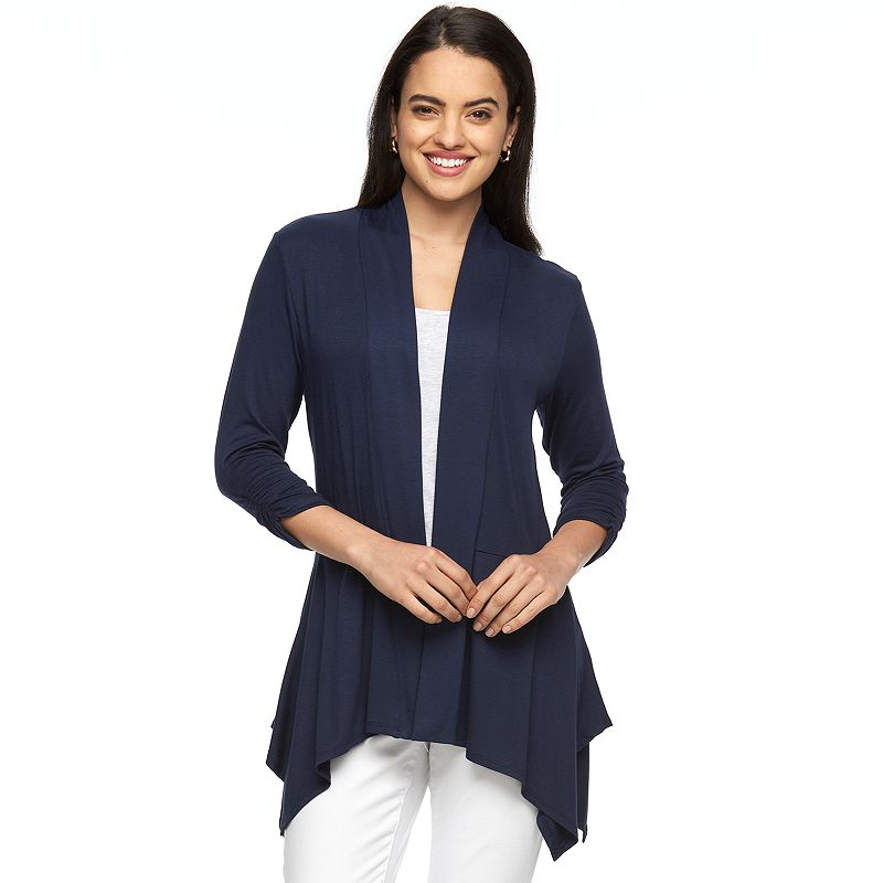 Women's AB Studio Shark-Bite Hem Open-Front Cardigan