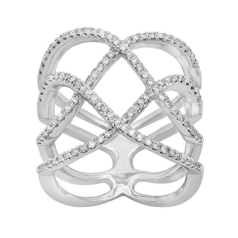 14k White Gold 1/2 Carat T.W. Diamond Crisscross Ring