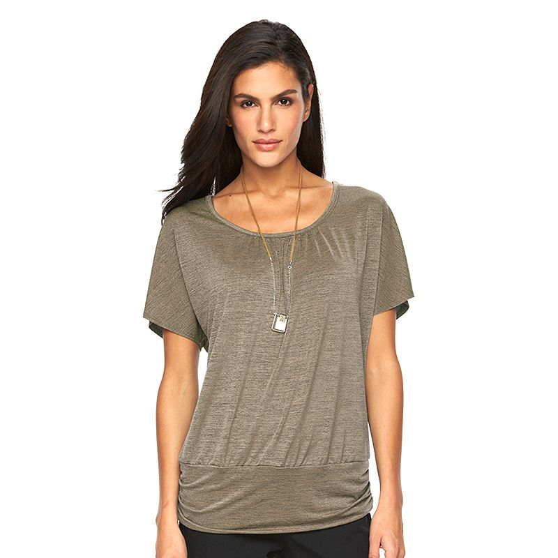 Women's AB Studio Necklace Banded-Bottom Top