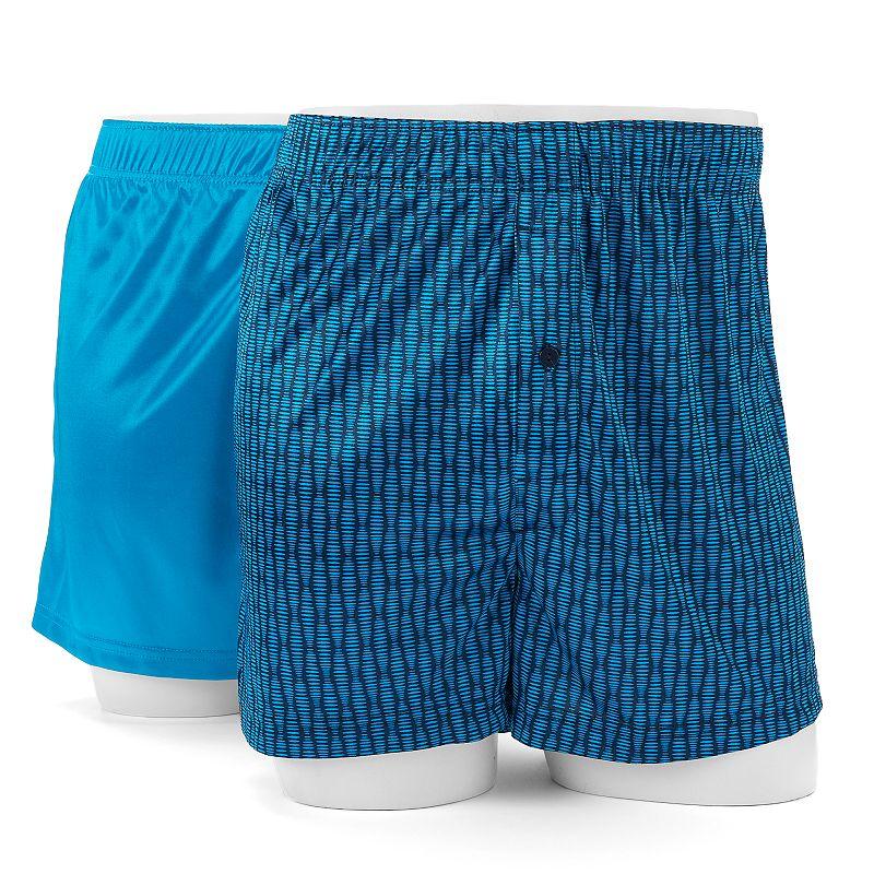 Men's Croft & Barrow® 2-pack Solid & Patterned Microfiber Boxers