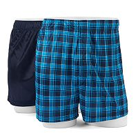 Men's Croft & Barrow® 2-pack Solid & Patterned Microfiber Boxers