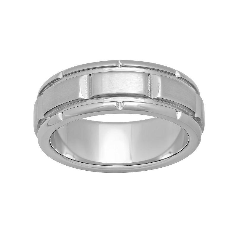 Men's Stainless Steel Grooved Ring