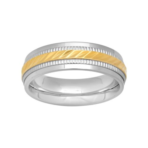 Two Tone Stainless Steel Grooved Ring