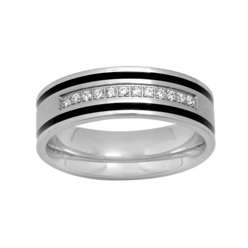 Men's Stainless Steel 1/6 Carat T.W. Diamond Striped Ring