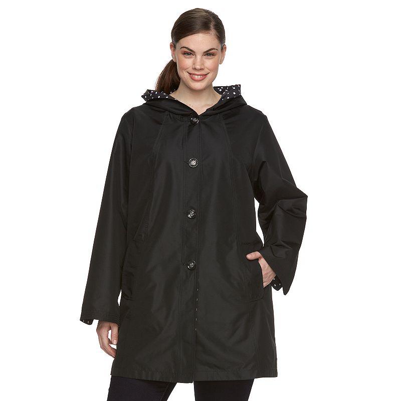 Plus Size d.e.t.a.i.l.s Packable Reversible Rain Jacket